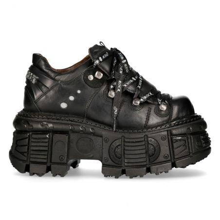 Black Itali Leather New Rock Tank Platform Shoes