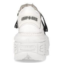 Chaussures Plateformes New Rock Tank en Cuir Napa Blanc