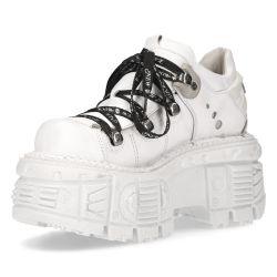 White Napa Leather New Rock Tank Platform Shoes