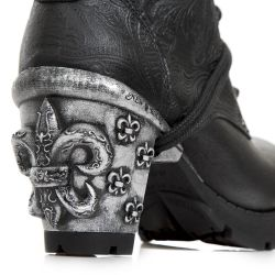 Black Vintage Flower Leather New Rock Trail Ankle Boots with Lilies
