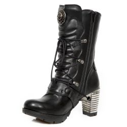Black Vegan Leather New Rock Trail Ankle Boots