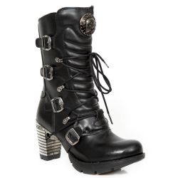 Bottines New Rock Trail en Cuir Vegan Noir