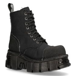 Black New Rock Metallic Ankle Boots