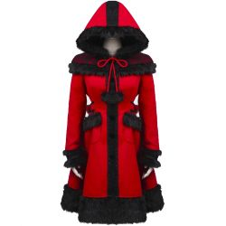 Manteau Gothic Lolita à Capuche 'Dolly' Rouge