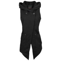 Black 'Mysterious Girl' Hooded Sleeveless Jacket
