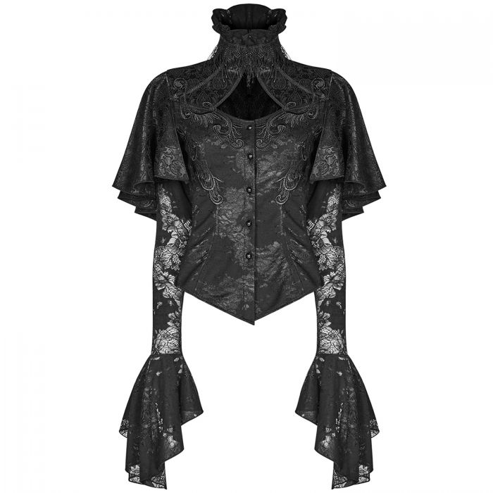 Black Brocard and Lace 'Eluveitie' Lace Top