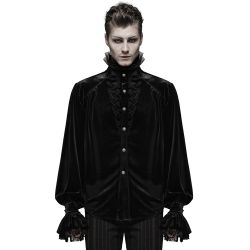 Black Velvet and Lace 'Gotham' Victorian Shirt