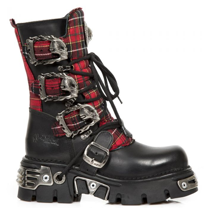 Black Leather and Red Tartan New Rock Metallic Boots