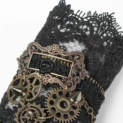 Black Lace Steampunk 'Gears and Spikes' Gloves