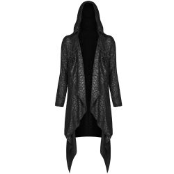 Black Long Gothic 'Merman' Hooded Jacket