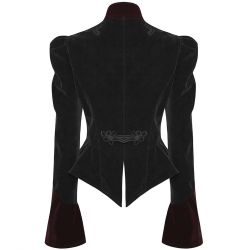 Black and Dark Red Velvet 'Fleur de Lys' Jacket