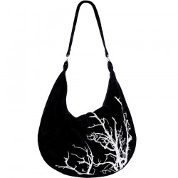 Embroidered Black Velvet Bag 'White Branches'