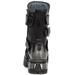 Black Itali Leather New Rock Metallic Boots with Steel Plates